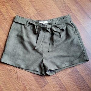 Ya Los Angeles Hi Rise Olive Green Shorts
